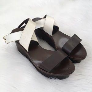 Tory Burch Brown Wood Ankle Strap Platform Sandals